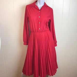 Vintage 70s/80s Red Button Down Disco Dress